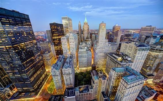 Fond d'écran New York, Etats-Unis, gratte-ciel, les maisons, le soir, les lumières