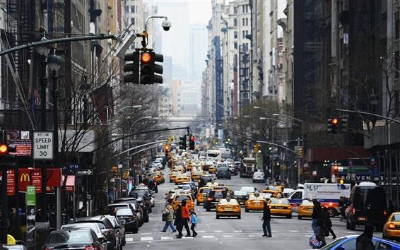 Обои Нью-Йорк, США, трафик, небоскребы, улица, машины, люди