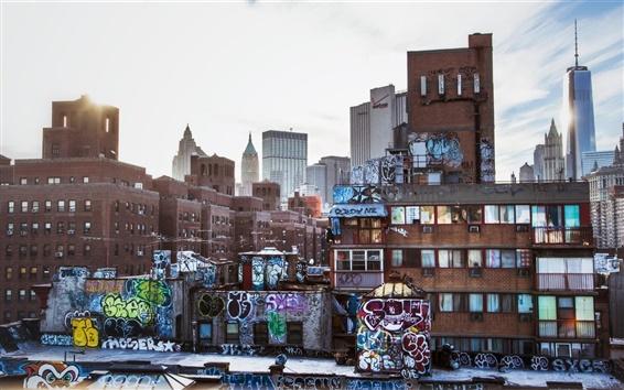 Wallpaper New York, USA, city, skyscrapers, graffiti, houses, buildings, dusk