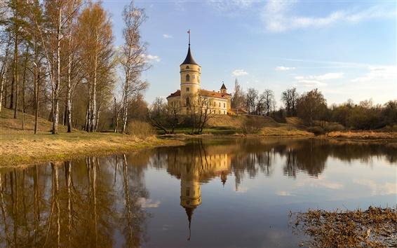 Papéis de Parede Pavlovsk, Rússia, lago, árvores