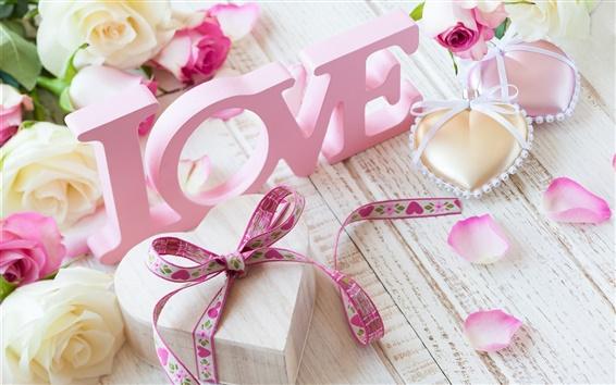 Papéis de Parede Amor-de-rosa, flores, rosas, Dia dos Namorados