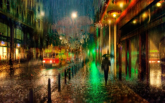 Wallpaper Prague, Czech, night, rain, lights
