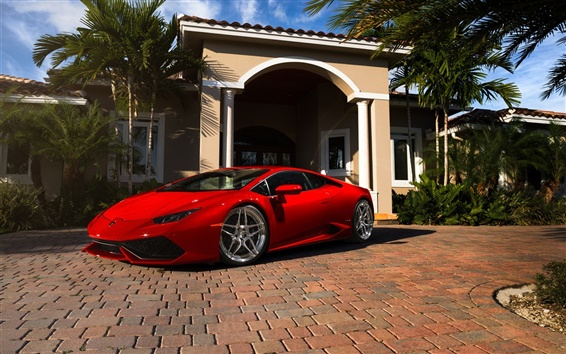 Wallpaper Red Lamborghini Huracan supercar, Miami, Florida