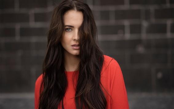 Wallpaper Red dress girl, long hair