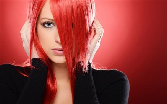 Fond d'écran Rouge jeune fille aux cheveux, les yeux, le visage, les mains, la mode