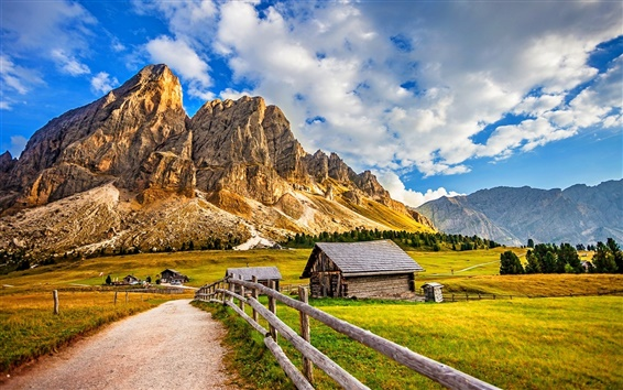 Wallpaper Road, house, fence, mountains, grass, trees, clouds