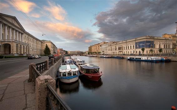 壁紙 サンクトペテルブルク、フォンタンカ川、ロシア、ボート、家
