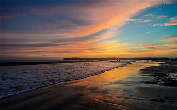 Wallpaper San Diego, California, USA, beach, ocean, sunset