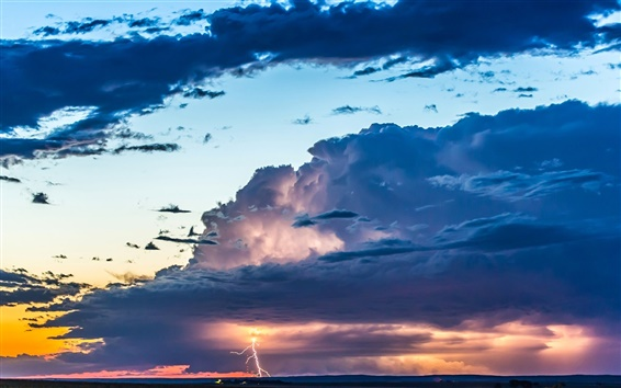 wallpaper sky clouds glow sunset thunder lightning hd