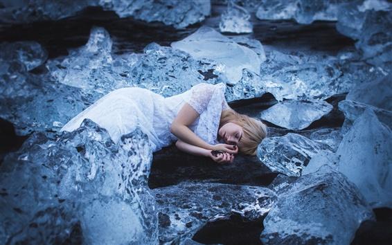 Wallpaper Sleep girl, ice, cold, Amy Haslehurst