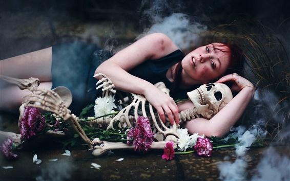 Wallpaper Sleep girl, skeleton, creative pictures