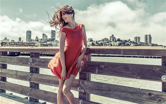 Wallpaper Smile girl, red dress, wind
