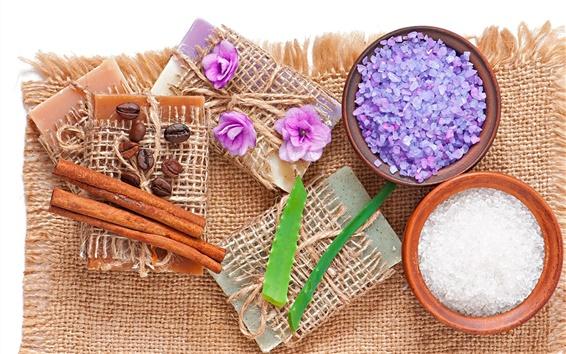 Wallpaper Spa, soap, lavender, salt, coffee, aloe, flowers