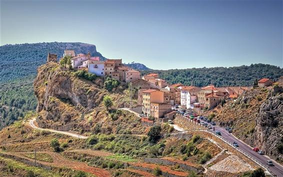 Wallpaper Spain, road, houses, cars, rocks, trees, sky