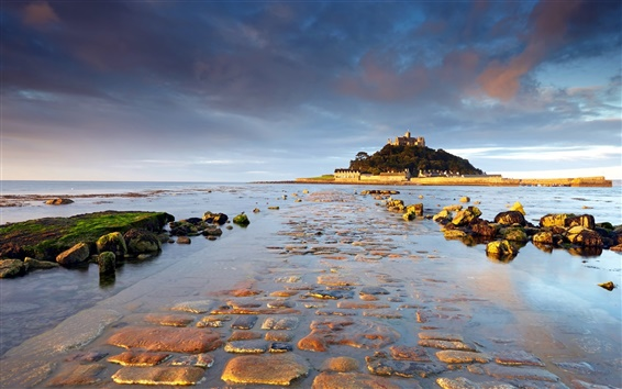 Wallpaper St Michael's Mount, Cornwall, England, sunrise, water