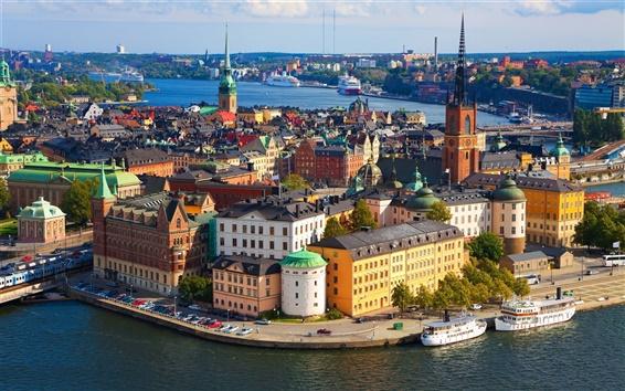 Wallpaper Sweden, Stockholm, city, dock, buildings, boats