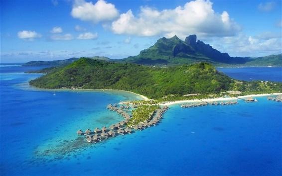 Wallpaper Tropical island, trees, houses, sea, coast