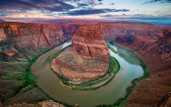 Fond d'écran États-Unis, Arizona, Colorado Canyon, Horseshoe Bend, rivière, nuages