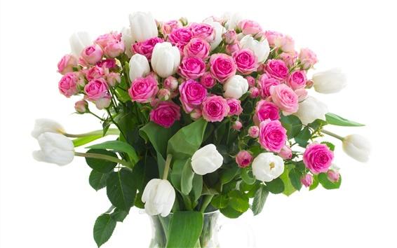 Обои Вазы, цветы, розовые розы, белые тюльпаны