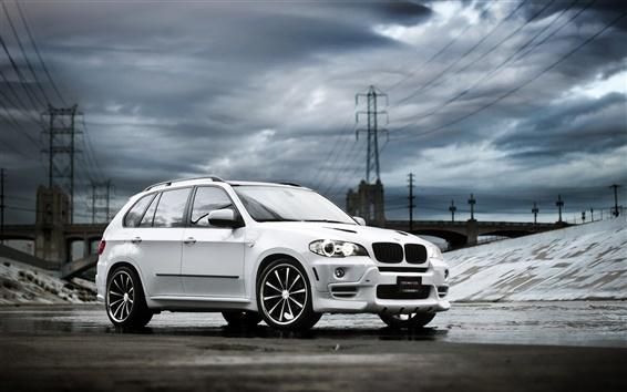 Wallpaper White BMW X5 SUV car, clouds