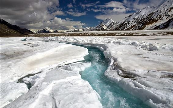Wallpaper Winter, snow, mountains, snow, stream