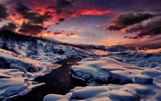 Обои Зима, снег, река, горы, лес, закат