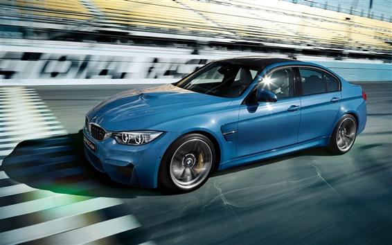 Обои 2015 BMW M3 Sedan F80 скорость синий автомобиль