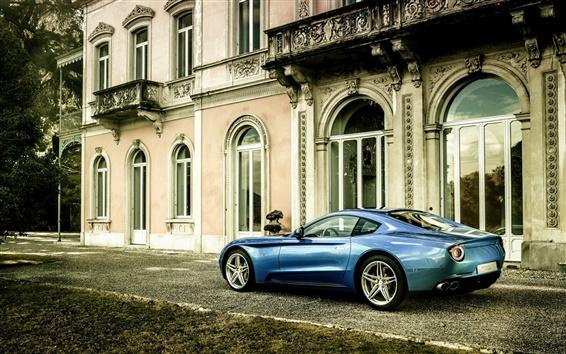 Wallpaper 2015 Ferrari Berlinetta blue car side view