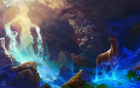Papéis de Parede Pintura da arte, cervos, rochas, dragão, mágica