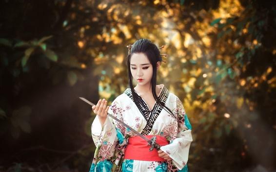 Wallpaper Asian girl, Japanese, sword