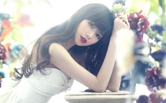 Wallpaper Asian girl, long hair, eyes, red lips, flower