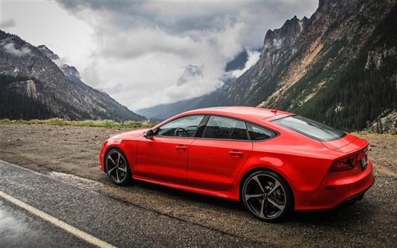 Fond d'écran Audi RS7 voiture rouge vue de côté