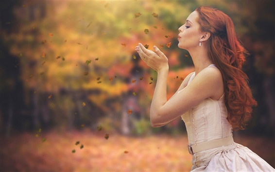 Wallpaper Autumn, leaves, red hair girl