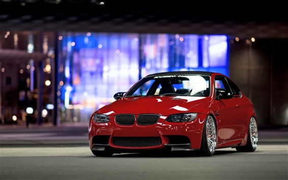Wallpaper BMW E92 M3 red car front view