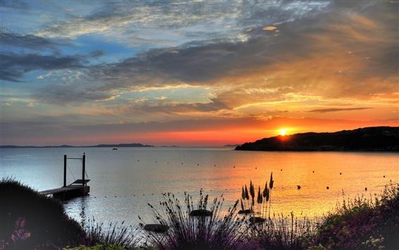 Papéis de Parede Bay pôr do sol, céu vermelho