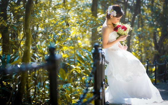 Wallpaper Beautiful bride, girl, asian, flowers