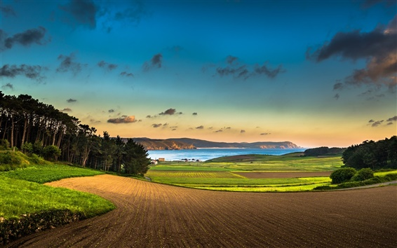 Wallpaper Beautiful scenery, trees, fields, sky, clouds, mountains, lake