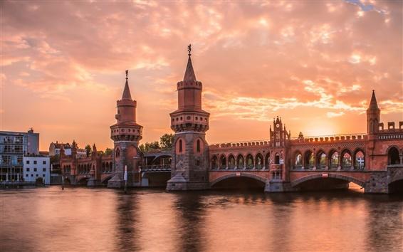 壁紙 ベルリン、ドイツ、川、橋、夕方、日没