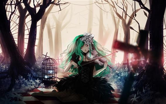 Wallpaper Blue hair anime girl, playing violin, flowers, trees