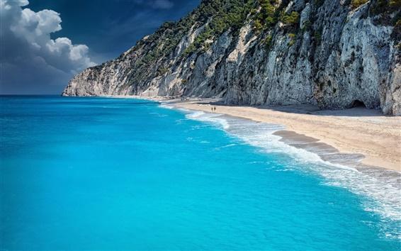 Wallpaper Blue sea, beach, ocean, coast, cliff