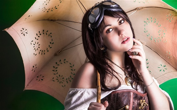 Wallpaper Brown eyed girl, glasses, umbrella
