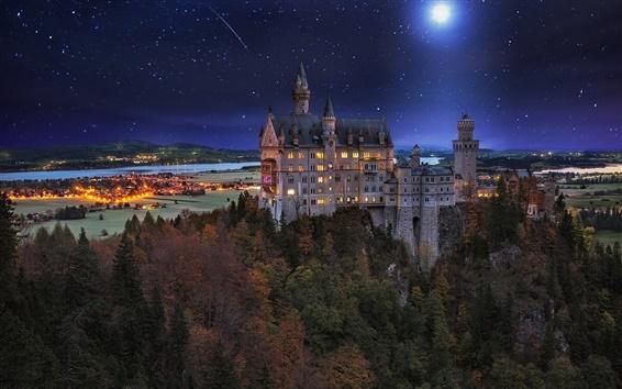 Wallpaper Castle, Germany, night, lights, moon, trees