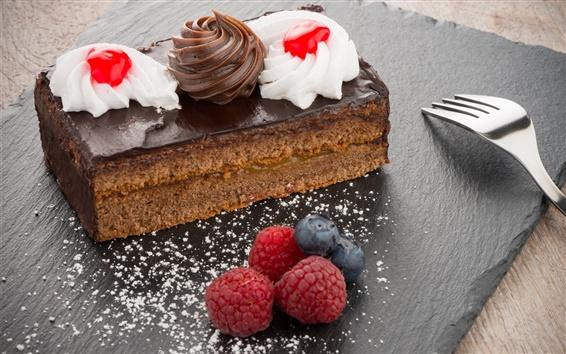 Wallpaper Chocolate cake, berries, cream, food