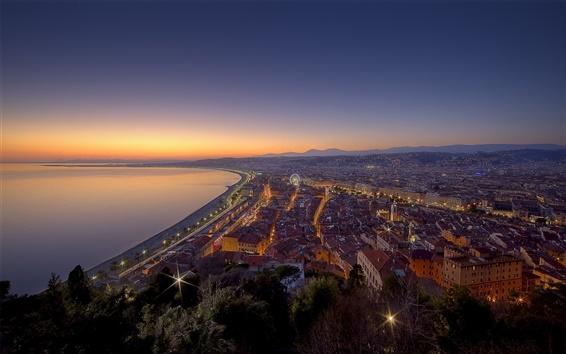 Fondos de pantalla Ciudad de noche, luces, casas, Francia