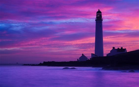 Wallpaper Coast, lighthouse, dusk, ocean, rocks, cliffs