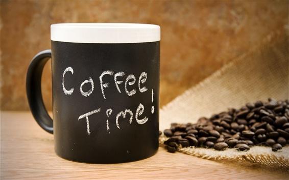 Обои Время кофе, зерна, напиток, чашка