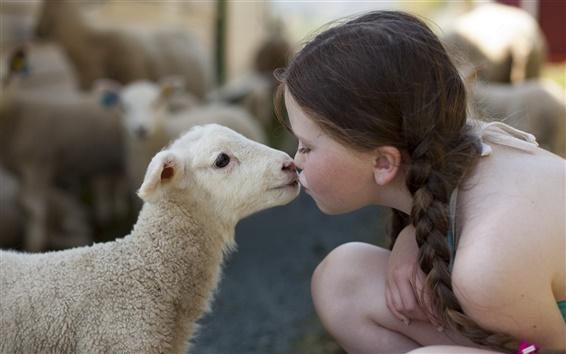 Wallpaper Cute little girl, sheep, friendship