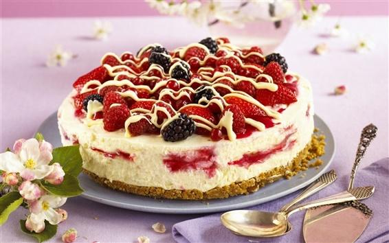 Обои Десерт, клубника, ежевика, торт
