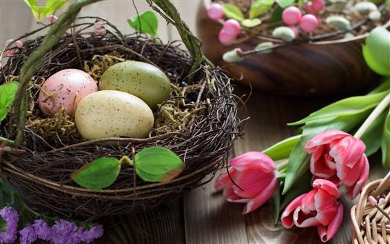 Fond d'écran Pâques, oeufs, fleurs de tulipes rose