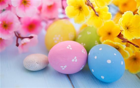 Обои Пасха, цветы, яйца, весна